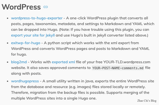 wordpress migrate to hugo